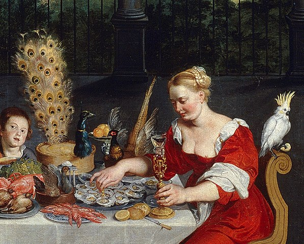 597px-Peacock_served_in_full_plumage_(detail_of_BRUEGHEL_Taste,_Hearing_and_Touch)